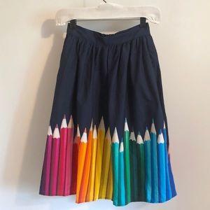 ModCloth Fervour color pencil print skirt